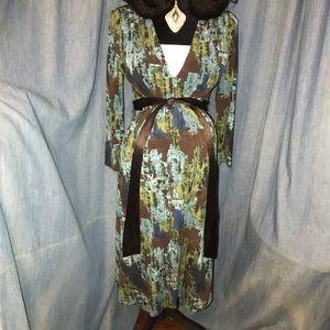 BCBG MaxAzria Green/Multi MIdi Maternity Dress SzS